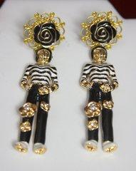2432 Madame Coco Sailor Enamel Camellia Tall Studs Earringhs