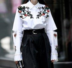 2116 Cotton Designer Inspired Bird Appliqes White One-size Shirt