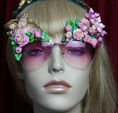 SOLD! 2086 Pink Cherub Flower Embellished Sunglasses