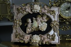 SOLD! 408 Total Baroque Vivid Cherubs Flower Unusual Unique Hand Painted Cigar Box Handbag Trunk