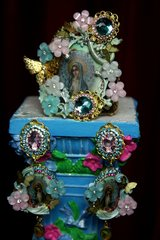 1988 Set Of Virgin Mary Aqua Pink Flower Crystal Cuff+ Earrings