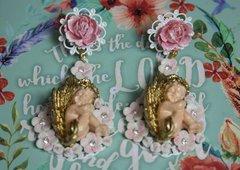 2454 Baroque Gold Winged Hand Painted Cherub Studs