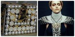 SOLD!62 Designer Inspired Total Baroque Gold Pearl Embellished Crossbody Trunk