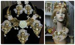 1061  SET Total Baroque Gold Cherub Milky Flower Butterfly Unique Statement Necklace