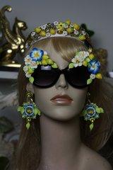 1228 Designer Inspired Blue Flower Lemon Flower Impressive Fancy Sunglasses Shades Eye Wear UV 400