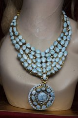 2333 Genuine Caribbean Larimar Massive Sun Statement Necklace