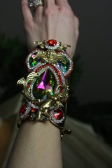 260 SET Earrings+ Victorian Cherub Swarovski Huge Cuff Bracelet Bangle