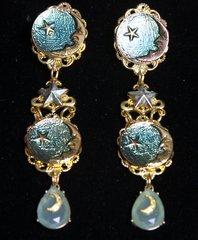 2285 Enamel Lucid Moon Star Stunning Earrings Studs