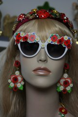 1404 SET Earrings Plus Designer Inspired Baroque Poppy Daisy Sunglasses