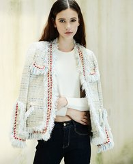 2156 Madam Coco White Tweed Elegant Blazer