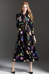 2379 Designer Inspired Mirrow Perfume Print Fancy Mid Cuff Dress