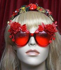 SOLD! 2556 Red Enamel Flower Baroque Embellished Sunglasses