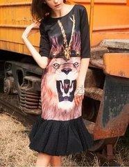 179 Lion Print Fancy Knee Length Dress