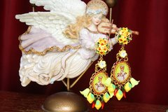 2531 Hand Painted Yellow Flower Lemon Chilly Mary Earrings