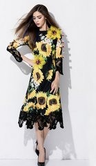 1393 Plus Sizes Sunflower Daisy 3D Effect Applique Black Lace Elegant Mid Cuff Dress