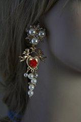 SOLD! Baroque Zibellini Cherub Heart Pearl Amazing Studs Earrings