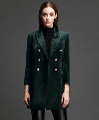 1593 Trendy Velvet Tuxedo Inspired Elegant Long Blazer