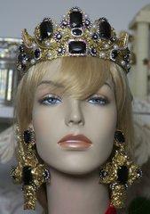 SOLD!1544 Total Baroque Rococo Black Crystal Crown Tiara