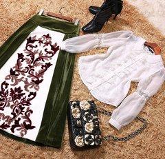 2128 Designer Inspired Velvet Skirt Blouse Twinset