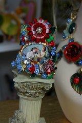 1015 Renaissance Zibellini Cameo Venus Cherub Vivid Rose Statement Cuff Bracelet Bangle