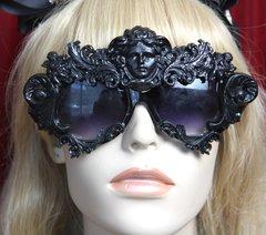 SOLD! 2500Sided Total Baroque Black Medusa Curves Embellished Sunglasses