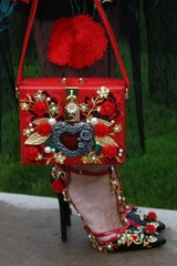 198 Designer Inspired Baroque Heart Crystal Embellished Crossbody Red Purse