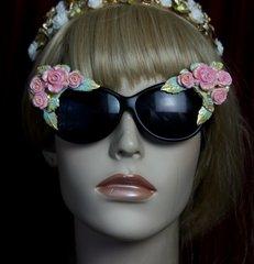 1969 Baroque elegant Roses Aqua Enamel Sunglasses