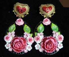 2280 Baroque Designer Inspired Heart Hand Painted Roses Massive Earrings