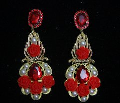 2177 Baroque Red Crystal Rose Pearl Studs