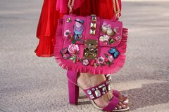 SOLD! 1390 Fringe Drew Fuchsia Bird Rose Embellished Handbag Crossbody