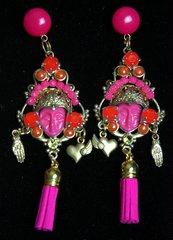 2274 Genuine Jasper Fuchsia Orange Tassel Studs Earrings
