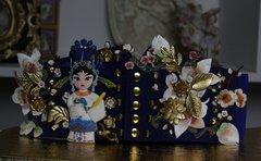 Asian Sakura Embellished Corset Blue Belt Size M, L