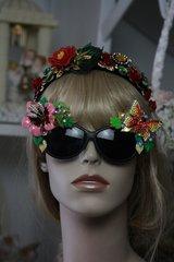 SOLD! 375  Art Nouveau Enamel Flower Crystal Butterfly Unusual Fancy Sunglasses Eye Wear