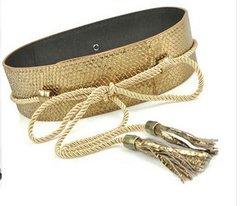 1529 Gold Snake Effect Wrap Waist Runway Belt