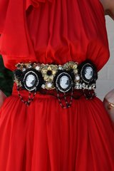 SOLD!  BELT Victorian Style Cameo Baroque Lace Belt M, L, XL