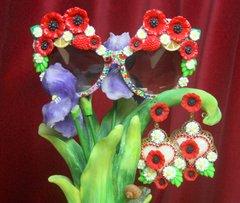 SOLD! 2720 Set Of Poppy Flower Print Daisy Sunnies+ Earrings