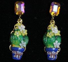 2161 Taormina Hand Painted  Cactus Crystal Studs Earrings