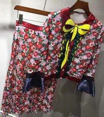 2109 Designer Inspired Sequin Yellow Bow Crochet Twinset