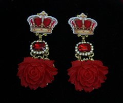 1766 Baroque Crown Massive Red Rose Crystal Earrings