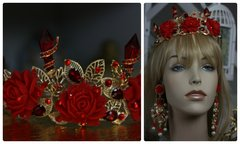 1002  Baroque Designer Inspired Spiky Rose Leaf Rhinestone Crystal Headband Crown