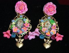 2524 Baroque Hand Painted Flower Cherub's Garden Earrings