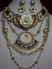 1618 Madam Coco Camellia Enamel Medallion Daisy Pearl Set