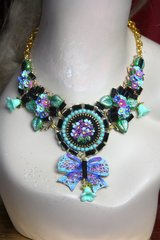 2284 Set Of Baroque Embroidery Hand Painted Flower Black Crystal Necklace+ Clips