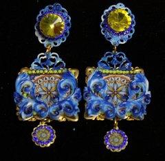SOLD! 2006 Italian Tile Print Hand Painted ENamel Yellow Crystal Earrings