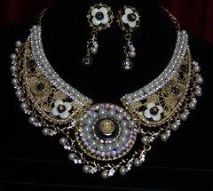 SOLD!1789 Madam Coco Camellia Enamel Metal Filigree Necklace Set