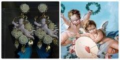SOLD! 330 Baroque Vivid Cherub Milky Rose Massive Earrings Studs