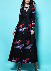 1623 Srork  Silky Print Stunning Fit Long Trench Coat