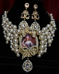 SOLD! 1851 Marie Antoinette Massive Bow Crystal Pearl Necklace Set