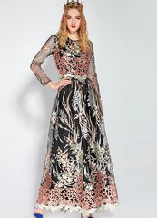 1760 Stunning Ocean Queen Coral Embroidery Gown Maxi Dress