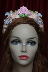 2415 Baroque Faced Cherubs Hand Painted Rose Headband